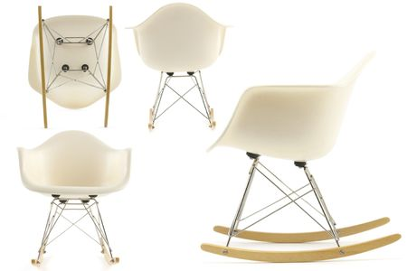 20th: modern design classic eames rocking chair set on white background