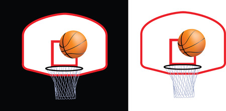 nba: Detailed illustration of a basketball hoop and ball