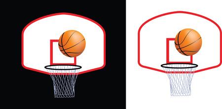 basketball hoop: Detailed illustration of a basketball hoop and ball