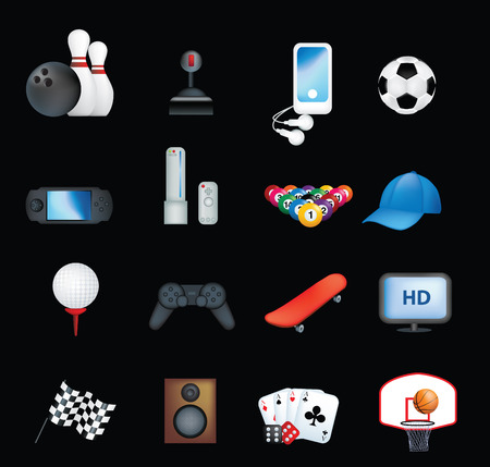 boys and male hobbies detailed icon set Stock Vector - 5773467