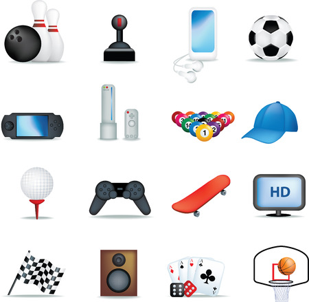 boys and male hobbies detailed icon set Vector
