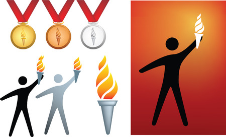 burning man: sports competition series of icons and symbols of flame and medals