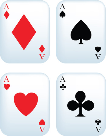 Set of aces playing cards on white background Vector