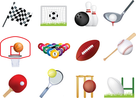 badminton sport symbol: Deatiled illustration of a series of world wide sports