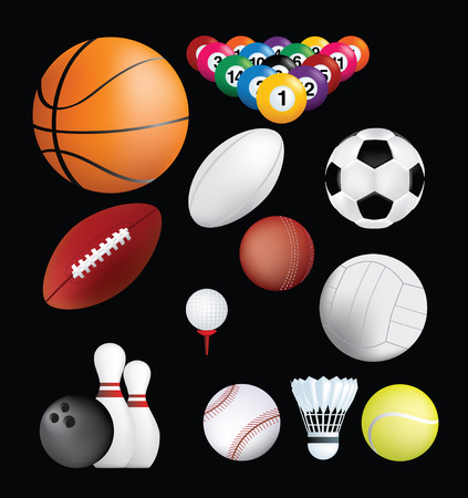 badminton sport symbol: detailed set of sports ball on black background