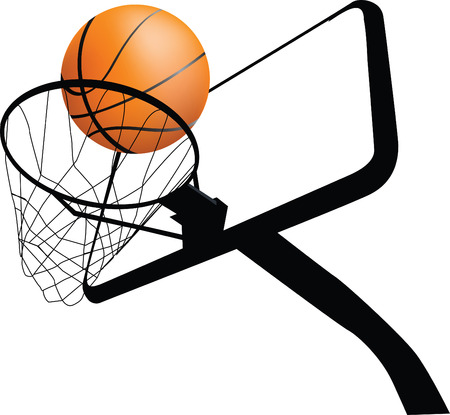 Detailed illustration of a basketball hoop and ball