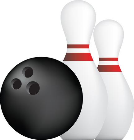 pin: Ilustraci�n de estilo simple icono de la bola de bolos y pines  Vectores