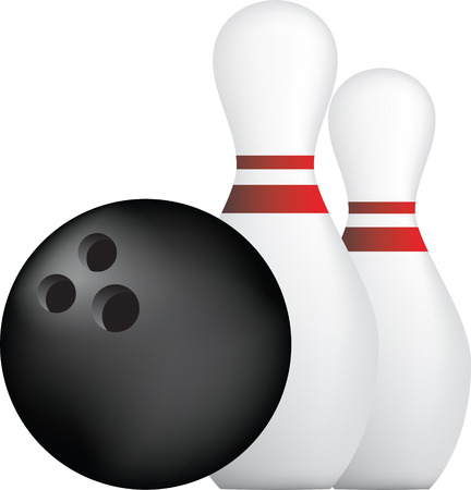 bowling ball: simple icon style illustration of bowling ball and pins