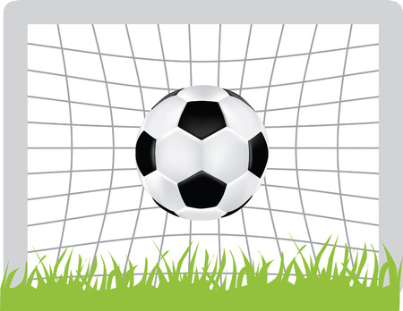 simple icon style illustration of football and goal Vector