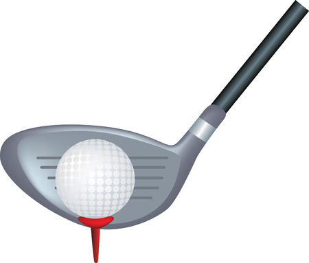 simple icon style illustration of a golf club and ball Vector