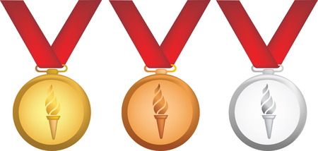simple icon style illustration of olympic medals Vector