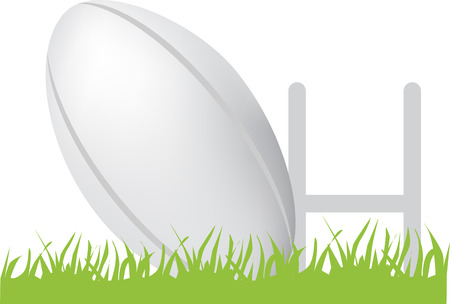 simple icon style illustration of rugby ball and posts