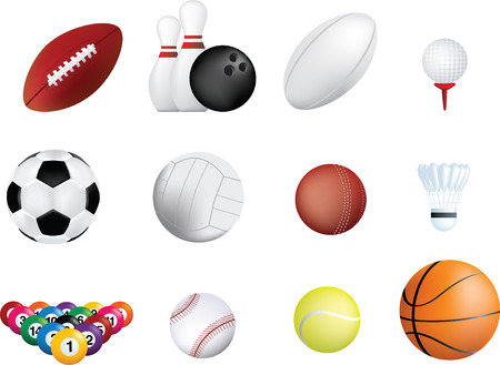and rugby ball: conjunto de icono de bolas de deportes sobre fondo blanco  Vectores