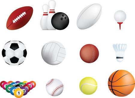 ballon de rugby: ensemble d'ic�ne de ballons de sport sur fond blanc