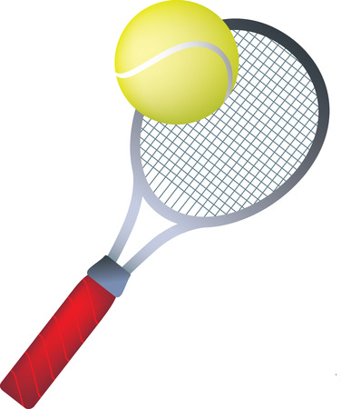 wimbledon: simple icon style illustration of tennis ball and racket Illustration
