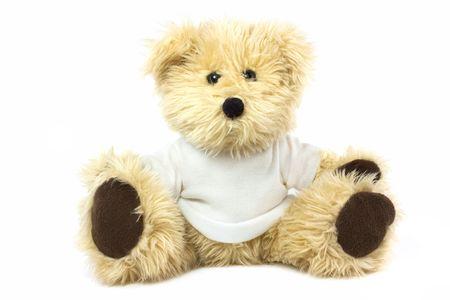 teddy bear wearing a plain white t shirt photo