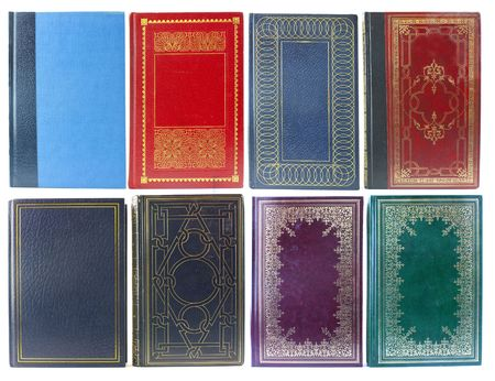 Big set of old book covers front view photo