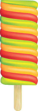 ice lolly: big illustration of a coloured ice lolly on white