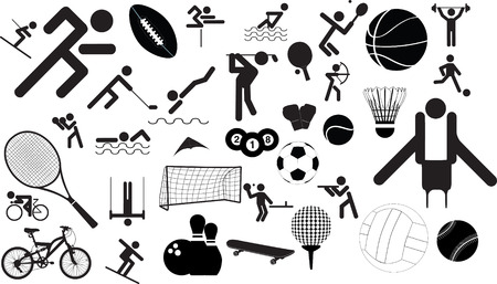 runing: icono de conjunto de caracteres en diferentes posiciones y objetos de deportes
