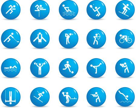 runing: Deportes figura icono de juego de caracteres en diferentes posiciones