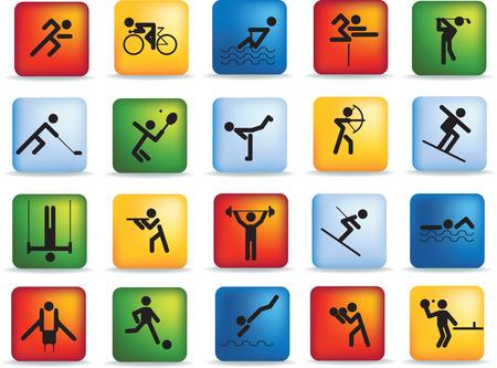 runing: Deportes figura icono conjunto de caracteres en diferentes posiciones Vectores