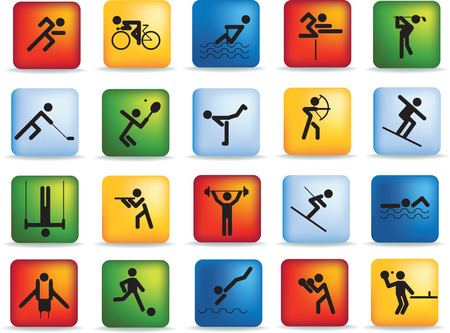 sports figure icon character set in different positions Stock Vector - 5900388