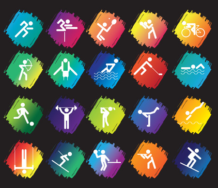 athletic symbol: sports figure icon character set in different positions