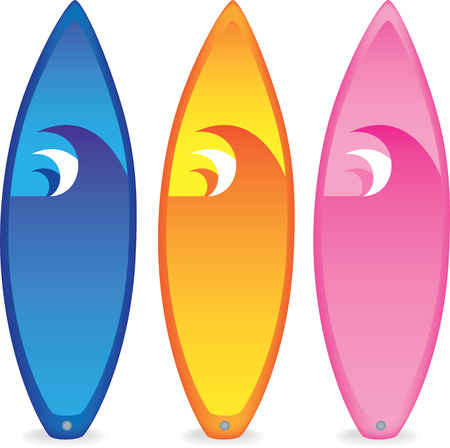 set of 3 different coloured surfboards on white background
