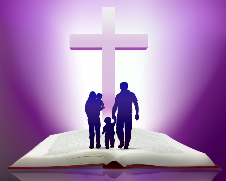 blue church: Illustration of open bible with family walking towards cross Stock Photo