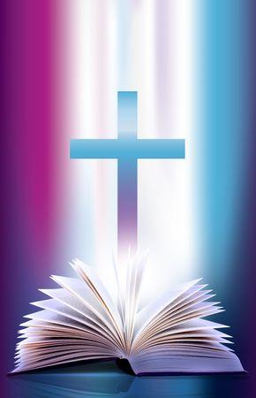 espiritu santo: Ilustraci�n de una p�ginas abiertas de la Biblia flicking y Cruz