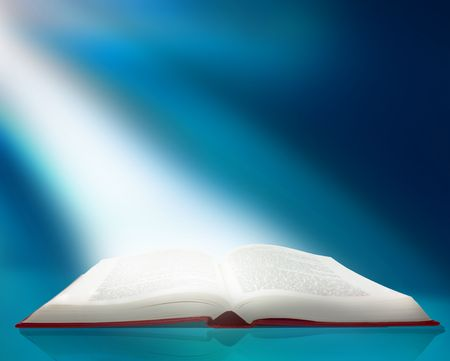 bible story: A ray of light shines on the pages of an open book Stock Photo