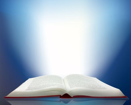 Magic ray of light shining from an open book photo