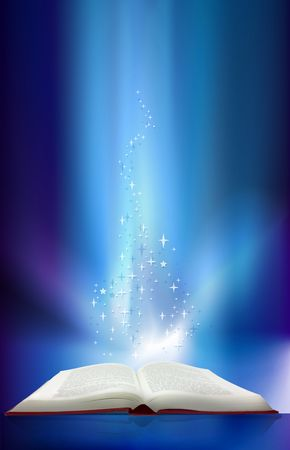 hardback: Magic book with lights and stars lighting it up Stock Photo