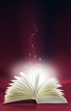 page up: A magic book with light and stars emanating from the pages