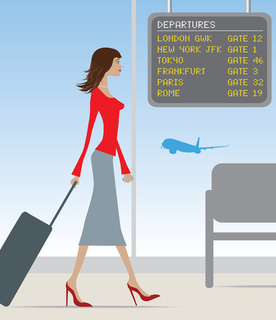 new arrivals: stylish woman travelling through a busy airport