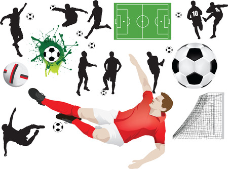Set of soccer elements including silhouettes and players Vector