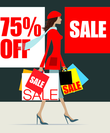 Stylish woman shopping loaded down with bags for the january sales Vector