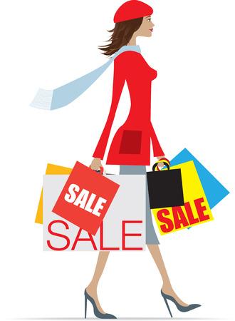 indulgere: Donna shopping nelle vendite che trasportano un sacco di sacchetti  Vettoriali