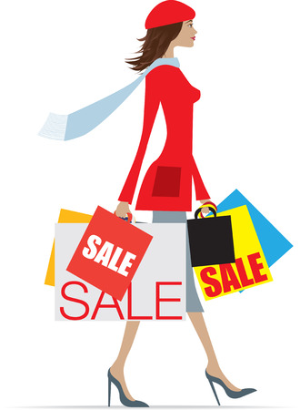 bargains: Woman shopping in the sales carrying lots of bags Illustration