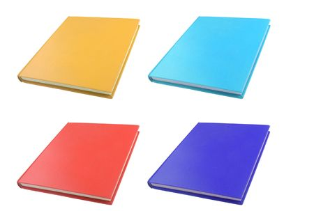 hardback: set of hardback casebound coloured isolated books