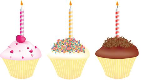 一本のろうそくで誕生日のカップケーキ 写真素材 - 5989279