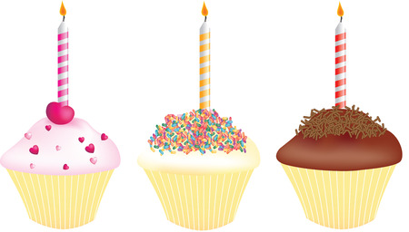 alight: cupcakes for birthdays each with a single candle