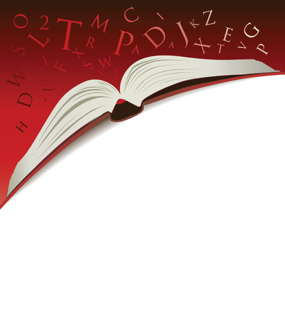 excite: open book illustration on a red background with letters tumbling
