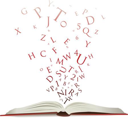 libro abierto: Abra el libro con letras que caigan en las p�ginas  Vectores