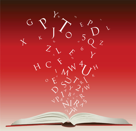 open book with letters falling into the pages Çizim