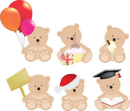 balloons teddy bear: teddy bear set for different occasions on white Illustration