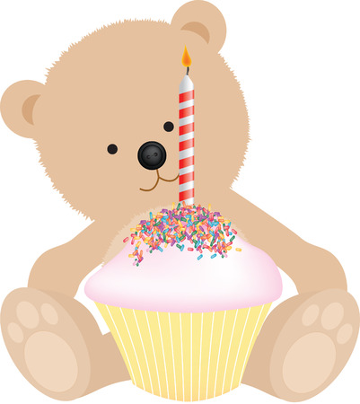 happy birthday teddy bear with birthday cake Vector