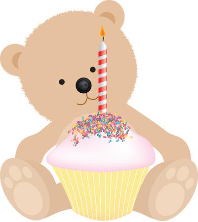 Oso de peluche de feliz cumpleaños con pastel de cumpleaños  Foto de archivo - 6010701