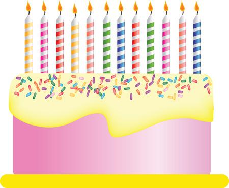 happy birthday cake: Ilustraci�n de un pastel de cumplea�os feliz con velas  Vectores