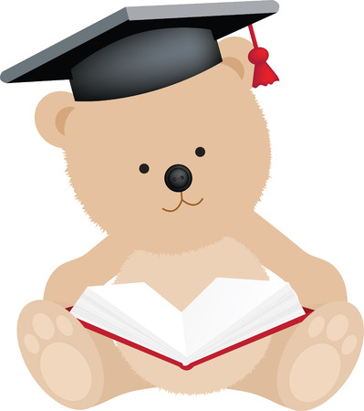 mortar board: graduation teddy bear with mortar board and book